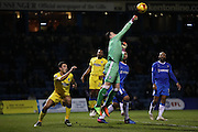 Gillingham FC goalkeeper Stuart Nelson (1) punches clear during the EFL Sky Bet League 1 match between Gillingham and AFC Wimbledon at the MEMS Priestfield Stadium, Gillingham, England on 21 February 2017.