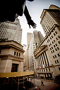 The NYSE Euronext New York Stock Exchange as seen from the stairs of Federal Hall.
