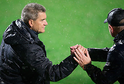 Marijan Pusnik, head coach of HNK Hajduk and Matjaz Kek, head coach of HNK Rijeka after the football match between HNK Rijeka and HNK Hajduk Split in Round #15 of 1st HNL League 2016/17, on November 5, 2016 in Rujevica stadium, Rijeka, Croatia. Photo by Vid Ponikvar / Sportida