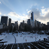 An ice skating rink in Central Park is seen covered with snow and ice in New York on Thursday, Jan. 23, 2014. A recent snow storm created by a polar vortex, dumped almost a foot of snow in some areas of New York City, followed by bitter cold. The NFL plans on featuring the Super Bowl at MetLife stadium in New Jersey on February 3rd amid growing concerns about more snow and bitter cold arriving just prior to the game.  (AP Photo/Alex Menendez)
