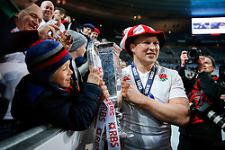 England Hooker Dylan Hartley (capt) celebrates after his side wins the match, the Six Nations title and the Grand Slam - Mandatory byline: Rogan Thomson/JMP - 19/03/2016 - RUGBY UNION - Stade de France - Paris, France - France v England - RBS 6 Nations 2016.