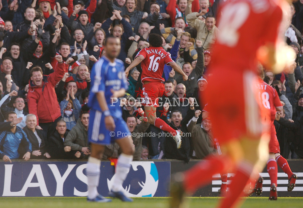 Liverpool, England - Saturday, January 20, 2007: Liverpool's Jermaine Pennant celebrates scoring the second goal against Chelsea during the Premier League match at Anfield. (Pic by David Rawcliffe/Propaganda)