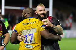 Beno Obano of Bath Rugby and Joe Marler of Harlequins after the match - Mandatory byline: Patrick Khachfe/JMP - 07966 386802 - 23/11/2019 - RUGBY UNION - The Twickenham Stoop - London, England - Harlequins v Bath Rugby - Heineken Champions Cup