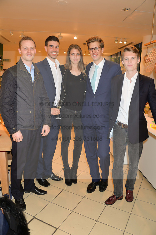 Left to right, MICHAEL ROBINSON, EDWARD OSBORNE, SABRINA PERCY, ROBERT SANCROFT-BAKER and DAVID TOLLEMACHE at the launch of A Season In France hosted by Jasper Conran at The Conran Shop, 81 Fulham Road, London on 1st May 2014.