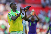 Nigeria midfielder Wilfred Ndidi (13) applauds the visiting fans after the Friendly International match between England and Nigeria at Wembley Stadium, London, England on 2 June 2018. Picture by Toyin Oshodi.