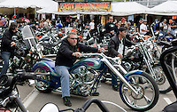 The rain stopped and the bikes came out Friday afternoon to enjoy the tail end of Motorcycle Week in Weirs Beach.  (Karen Bobotas/for the Laconia Daily Sun)