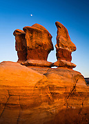 The moon rises above the Devil's Garden, Grand Staircase - Escalante National Monument.
