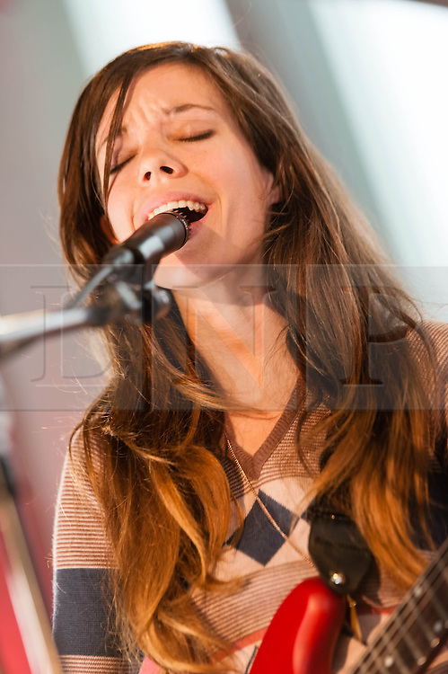 © Licensed to London News Pictures. 04/04/2014. Rotterdam, Netherlands.   Quilt performing live at Motel Mozaique Festival.  In this picture - Anna Fox Rochinski. Quilt are a three-piece psychedelic indie-rock band from Boston consisting of Anna Fox Rochinski (vocals/guitars), Shane Butler (vocals/guitars) and John Andrews (vocals/drums). Motel Mozaïque is an annual music/arts festival, held annually in Rotterdam, Netherlands.  Photo credit : Richard Isaac/LNP