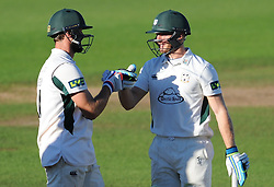 Worcestershire's Ross Whiteley and Ben Cox at the crease. - Mandatory byline: Alex Davidson/JMP - 07966386802 - 23/08/2015 - Cricket - County Ground -Taunton,England - Somerset CCC v Worcestershire CCC - LV= County Championship Division One - Day 3
