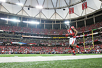 20 January 2013: Wide receiver (84) Roddy White of the Atlanta Falcons warms up before playing against the San Francisco 49ers before the 49ers 28-24 victory over the Falcons in the NFC Championship Game at the Georgia Dome in Atlanta, GA.