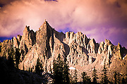 Idaho. Sawtooth National Recreation Area. The pointed peak of The Temple above Cramer Lake.