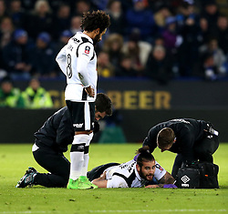 Bradley Johnson of Derby County receives treatment for an injury - Mandatory by-line: Robbie Stephenson/JMP - 08/02/2017 - FOOTBALL - King Power Stadium - Leicester, England - Leicester City v Derby County - Emirates FA Cup fourth round replay