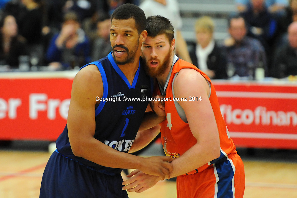 Giants player Jamal Boykin(L) and Sharks Brain Conklin during the Bartercard NBL game Nelson Giants v Southland Sharks at Saxton Stadium, Nelson, New Zealand. Friday 27 June 2014. Photo: Chris Symes/www.photosport.co.nz