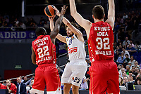 Real Madrid's Sergio Llull and Crvena Zvezda Mts Belgrade's Charles Jenkins and Ognjen Kuzmic during Turkish Airlines Euroleague match between Real Madrid and Crvena Zvezda Mts Belgrade at Wizink Center in Madrid, Spain. March 10, 2017. (ALTERPHOTOS/BorjaB.Hojas)
