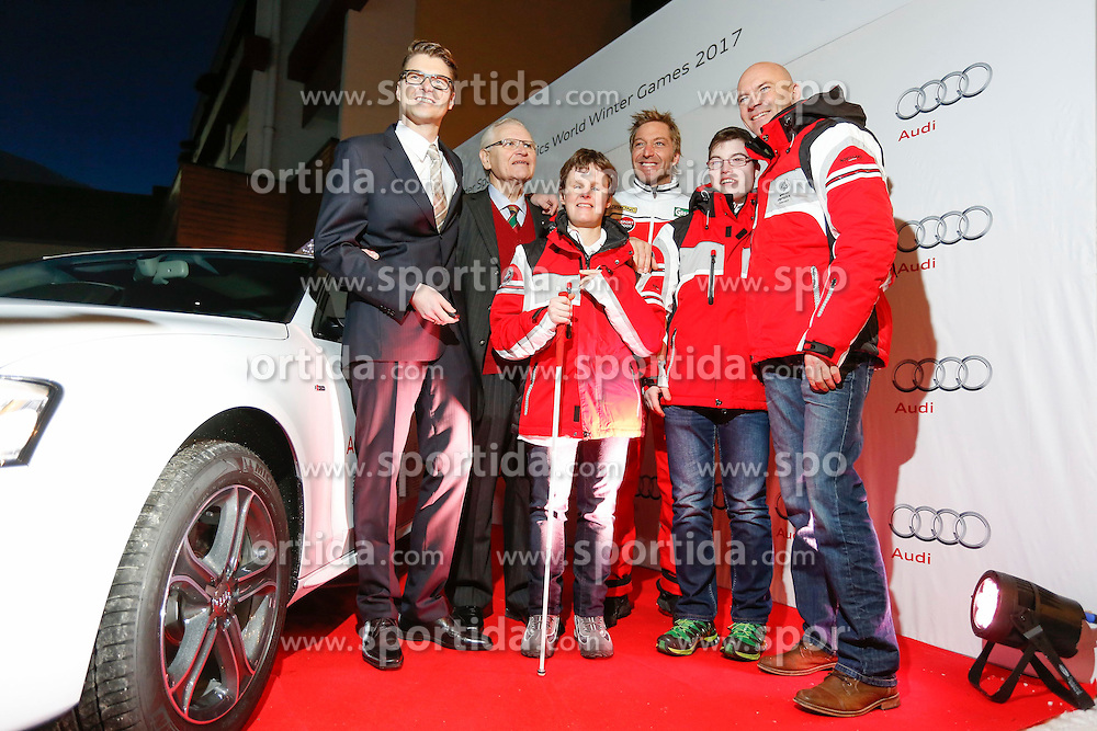 26.01.2015, Hotel Royer, Schladming, AUT, Special Olympics 2017, Schladming, Präsentation von Audi als Hauptsponsor der Special Olympics 2017, im Bild von links Wilfried Weitgasser (Geschäftsführer CEO Porsche Austria), Hermann Kröll (Präsident Special Olympics 2017), Karolina Danklmayer (SOÖ Sportlerin), Hans Knauss (World Winter Games Botschafter), Elias Duhs (SOÖ Sportler) und Bürgermeister Jürgen Winter // from left Wilfried Weitgasser (CEO Porsche Austria), Hermann Kroell (president Special Olympics 2017), Karolina Danklmayer (SOOE athlete), Hans Knauss (SOWWG ambassador), Elias Duhs (SOOE athlete) and Juergen Winter (major of Schladming) during the presentation from Audi as Head-Sponsor of the Special Olympics 2017 at the Hotel Royer in Schladming, Austria on 2015/01/26, EXPA Pictures © 2015, PhotoCredit: EXPA/ Erwin Scheriau