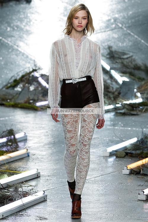 Sasha Luss (WOMEN) walks the runway wearing Rodarte Fall 2015 during Mercedes-Benz Fashion Week in New York on February 17, 2015