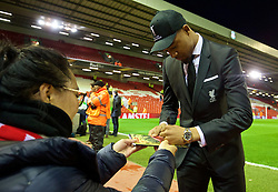LIVERPOOL, ENGLAND - Thursday, March 10, 2016: Liverpool's Jordon Ibe arrives ahead of the UEFA Europa League Round of 16 1st Leg match against Manchester United at Anfield. (Pic by David Rawcliffe/Propaganda)