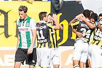 ARNHEM - Vitesse - FC Groningen , Voetbal , Eredivisie, Seizoen 2015/2016 , Gelredome , 03-10-2015 , FC Groningen speler Hans Hateboer (l) loopt balend terug terwijl spelers van Vitesse de 1-0 vieren