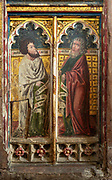 Medieval paintings of saints on rood screen inside church of Saint Andrew, Bramfield, Suffolk, England, UK - Saint Mark and Saint Matthew