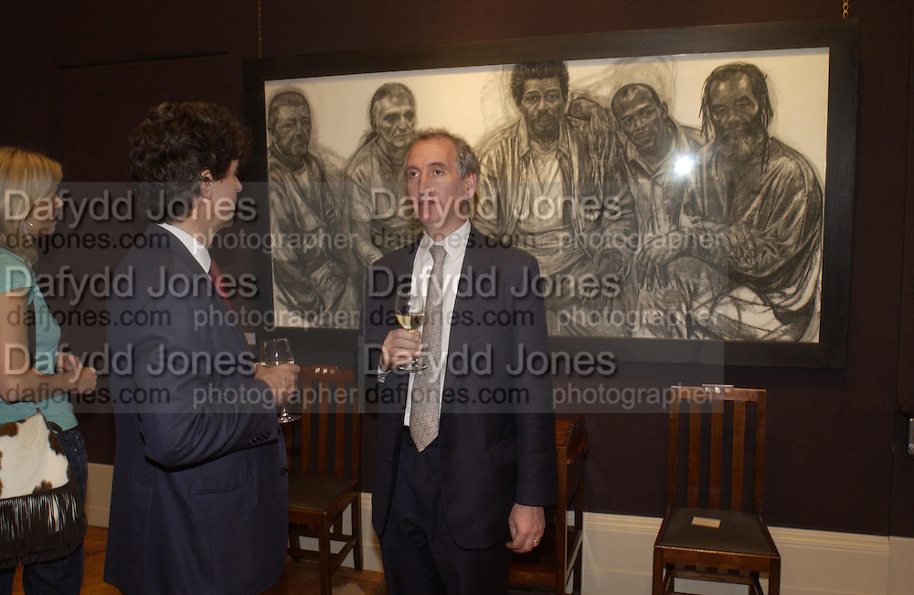 Hugh Sloane and George Robinson, 'Shades of Grey', exhibition of new paintings and drawings by Emma Sergeant. 148 New Bond St. 1 November 2004. ONE TIME USE ONLY - DO NOT ARCHIVE  © Copyright Photograph by Dafydd Jones 66 Stockwell Park Rd. London SW9 0DA Tel 020 7733 0108 www.dafjones.com