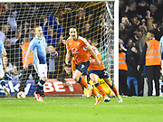 Luton Town player Danny Hylton celebrates his penalty during the second half during the EFL Sky Bet League 2 play off second leg match between Luton Town and Blackpool at Kenilworth Road, Luton, England on 18 May 2017. Photo by Ian  Muir.