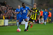 Peterborough United defender Gabriel Zakuani  wins the ball from Burton Albion forward Timmy Thiele during the The FA Cup match between Burton Albion and Peterborough United at the Pirelli Stadium, Burton upon Trent, England on 7 November 2015. Photo by Aaron Lupton.