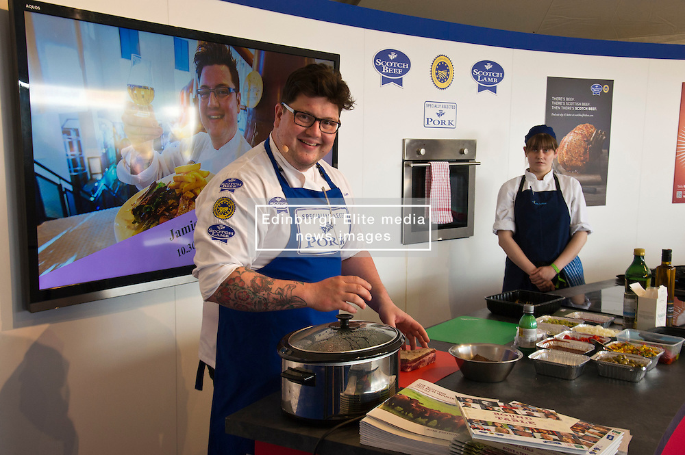 Pictures: 2011 winner of MasterChef Jamie Scott was on hand to give a cooking demonstration<br /> <br />  The crowds gathered at the Royal Highland Show today as all things farming were on display. The sunshine and showers weather did not disuade visitors  to open their wallets and purses as they toured the 4,000 stands available<br /> <br /> Ger Harley: Edinburgh Elite media