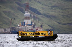 USA ALASKA DUTCH HARBOR 5AUG12 - Greenpeace boat crew protest at Shell drilling rig Kulluk in Dutch Harbor, Unalaska, Alaska.....Photo by Jiri Rezac / Greenpeace....© Jiri Rezac / Greenpeace
