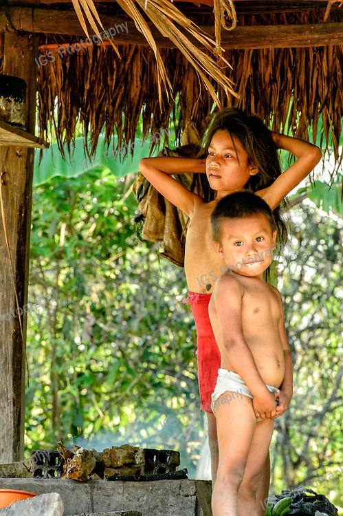 Children of the Yagua Tribe in the village