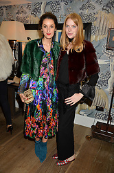 Left to right, ROSANNA FALCONER and LUCY WARD md of Trouva at the Mila Furs Trunk Show held at the Haymarket Hotel, 1 Suffolk Place, London on 1st November 2016.
