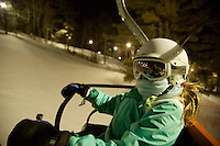 Jessica Laman (age 9) night skiing at Nashoba Valley, Massachusetts