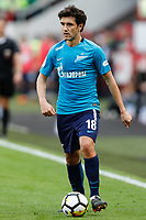 MOSCOW, RUSSIA - MAY 05: Yuri Zhirkov of FC Zenit Saint Petersburg in action during the Russian Football League match between FC Lokomotiv Moscow and FC Zenit Saint Petersburg at RZD Arena on May 5, 2018 in Moscow, Russia.