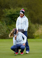 Auchterarder, Scotland, UK. 12 September 2019. Final practice day at 2019 Solheim Cup on Centenary Course at Gleneagles. Pictured; Nelly Korda of USA shares a joke with Juli Inkster. Iain Masterton/Alamy Live News