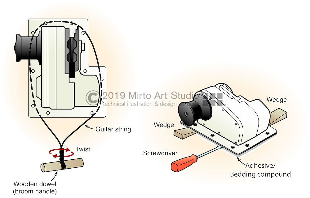 A vector illustration showing a technique of removing an anchor windlass from the deck.