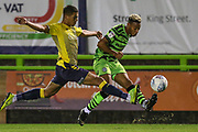 Forest Green Rovers Junior Mondal(25) crosses the ball during the Leasing.com EFL Trophy match between Forest Green Rovers and Coventry City at the New Lawn, Forest Green, United Kingdom on 8 October 2019.