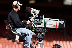 SAN FRANCISCO, CA - OCTOBER 14: Detailed view of a Fox Sports videographer with camera before the game between the San Francisco 49ers and the New York Giants at Candlestick Park on October 14, 2012 in San Francisco, California. The New York Giants defeated the San Francisco 49ers 26-3. Photo by Jason O. Watson/Getty Images) *** Local Caption ***