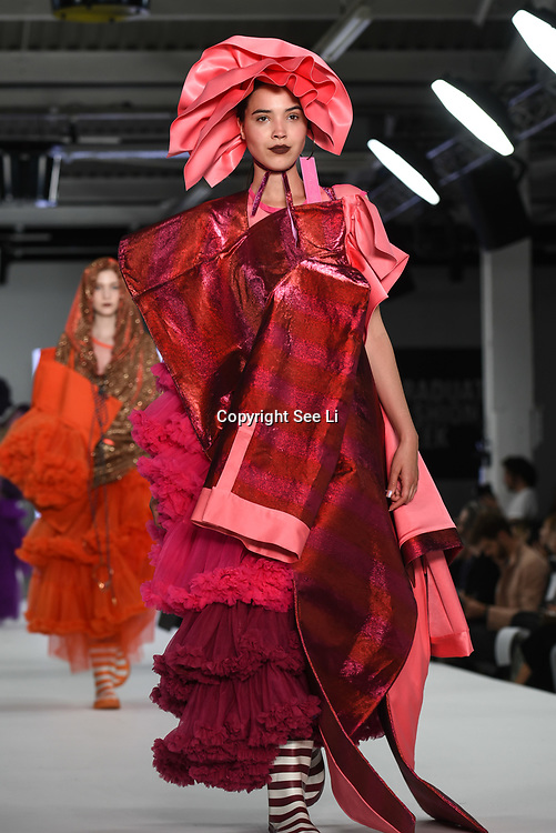Designer Chantelle Guan at the Best of Graduate Fashion Week showcases at the Graduate Fashion Week 2018, June 6 2018 at Truman Brewery, London, UK.