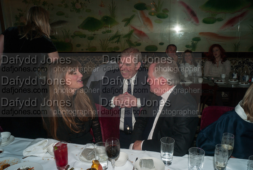JEMIMA KHAN; PRINCE ANDREW; SIR ANTHONY BAMFORD, Chinese New Year dinner given by Sir David Tang. China Tang. Park Lane. London. 4 February 2013.