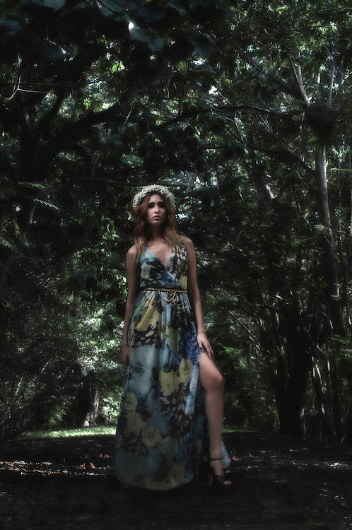 Photoshop Composition. Photograph of a Puerto Rico Fashion In model wearing a Gabriela Victoria Nevarez design on a Humacao Natural Reserve Landscape picture.