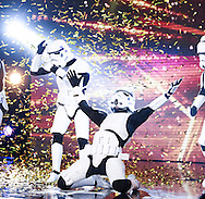 *** MANDATORY BYLINE TO READ: Syco / Thames / Dymond ***<br />*** MANDATORY BYLINE TO READ: Syco / Thames / Dymond *** <br /><br />Contestants and judges are seen on the fifth show of the 2016 series of Britain's Got Talent. The show airs Saturday April 30th on ITV.<br /><br />Pictured: Boogie Storm Golden Buzzer<br />Ref: SPL1277831  080516  <br />Picture by: Syco / Thames / Dymond