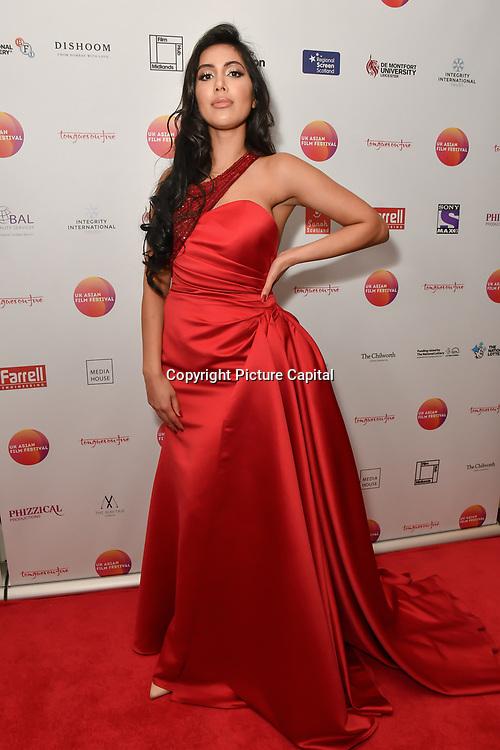 Nisha Aaliya attends the UK Asian Film Festival closing flame awards gala - Red Carpet at BAFTA 195 Piccadilly, on 7 April 2019, London, UK
