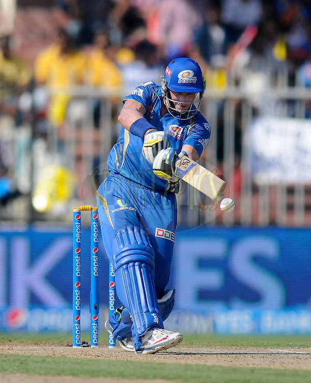 Michael Hussey of the Mumbai Indians bats during match 16 of the Pepsi Indian Premier League 2014 between the Delhi Daredevils and the Mumbai Indians held at the Sharjah Cricket Stadium, Sharjah, United Arab Emirates on the 27th April 2014<br /> <br /> Photo by Pal Pillai / IPL / SPORTZPICS