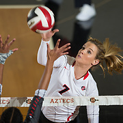 09 November 2017:  The San Diego State Aztecs women's volleyball team hosts UNLV Thursday night at Peterson Gym. San Diego State outside hitter Hannah Turnlund (7) spikes the ball during a game against UNLV. The Aztecs won 3-1 (25-18; 16-25; 25-12; 25-13).<br /> www.sdsuaztecphotos.com