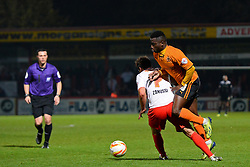 Stevenage's midfielder Filipe Morais fouls Wolves forward Nouha Dicko   - Photo mandatory by-line: Mitchell Gunn/JMP - Tel: Mobile: 07966 386802 01/04/2014 - SPORT - FOOTBALL - Broadhall Way - Stevenage - Stevenage v Wolverhampton Wanderers - League One