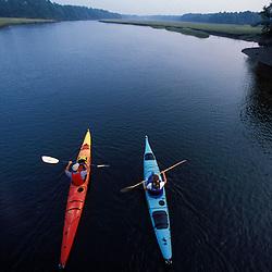 Kennebunk, ME. Kayaking the Mousam River.  Rachel Carson National Wildlife Refuge.  Tidal river. Salt Marsh.