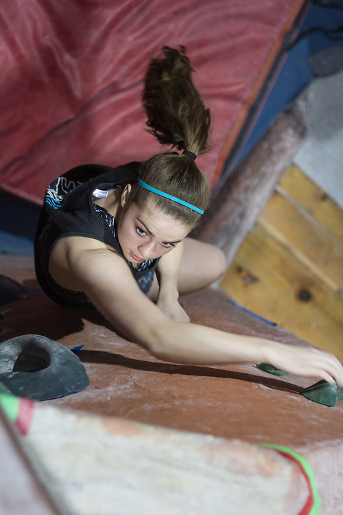 CAPTION during a Tufts Climbing Team practice on Wednesday night, April 6, 2016 at MetroRock in Everett, MA. (Max Lalanne/The Tufts Daily)