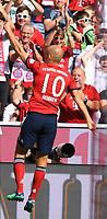Fussball  1. Bundesliga  Saison 2018/2019  3. Spieltag  FC Bayern Muenchen - Bayer 04 Leverkusen       15.08.2018 JUBEL FC Bayern Muenchen; Torschuetze zum 2-1 Arjen Robben  ----DFL regulations prohibit any use of photographs as image sequences and/or quasi-video.----