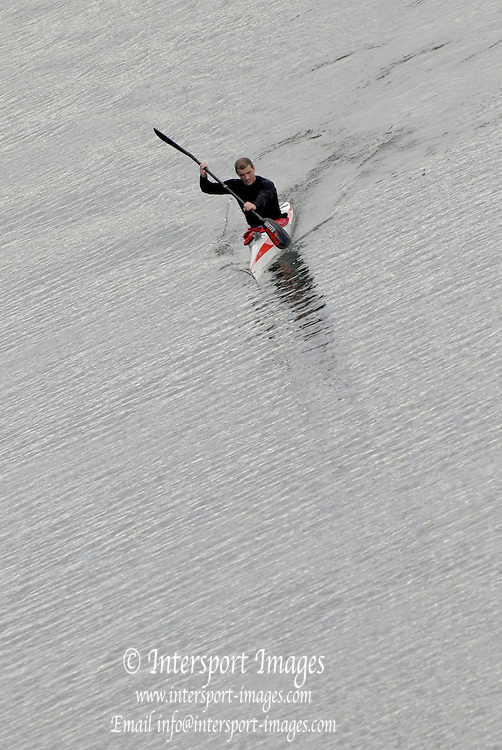 "Seville. SPAIN, 17.02.2007, Canoe, Kayak approaching  the ""Puente de la Alamillo""  [bridge]  on the River Guadalquiver Rowing and Canoeing  course. [Photo Peter Spurrier/Intersport Images]    [Mandatory Credit, Peter Spurier/ Intersport Images]. , Rowing Course: Rio Guadalquiver Rowing Course, Seville, SPAIN,"