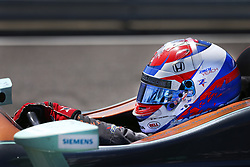 April 21, 2018 - Birmingham, Alabama, United States of America - ZACH VEACH (26) of the United Stated gets suited up and strapped into his machine to take to the track for final practice for the Honda Grand Prix of Alabama at Barber Motorsports Park in Birmingham, Alabama. (Credit Image: © Justin R. Noe Asp Inc/ASP via ZUMA Wire)