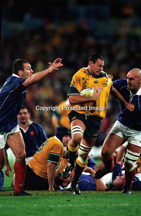 Matt Cockbain in action during the rugby union test match between Australia and France, Sydney, 29 June, 2002. Photo: PHOTOSPORT